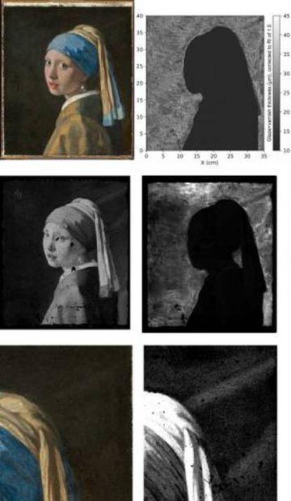 Mapa de fluorescencia de macrorrayos X (MA-XRF) para plomo (Pb-M), donde puede apreciarse la cortina [Annelies van Loon: Mauritshuis / Rijksmuseum]
