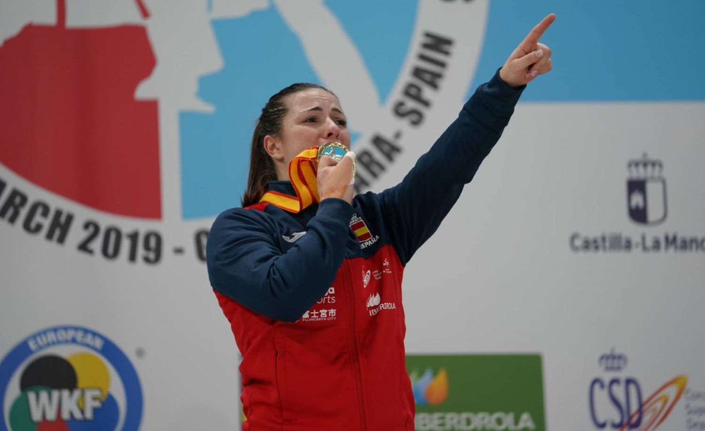 Laura Palacio, tras ganar el oro europeo en kumite +68kg hace un año.