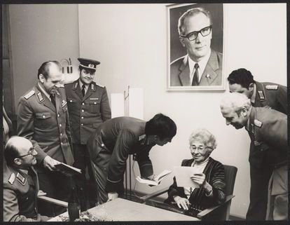 Ursula Kuczynski, now retired, with officials from the East German Ministry of State Security.