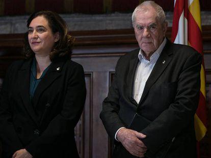 La alcadesa Ada Colau y Ernest Maragall (ERC), el pasado lunes.