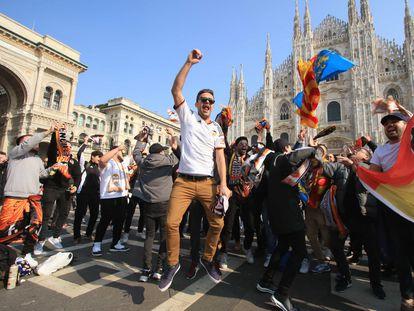 Unos 2.500 aficionados valencianistas acudieron al partido de fútbol Atalanta-Valencia, el 19 de febrero en Milán.