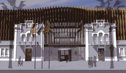 Fachada que da al paseo Joan de Borbó y que serviría de entrada al recinto museístico.