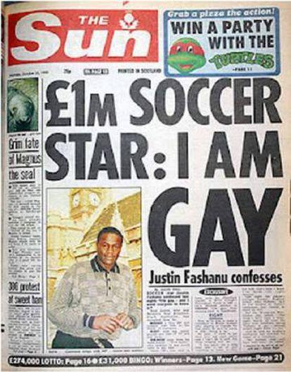 La portada del tabloide británico 'The Sun' en la que Justin Fashanu contaba que era gay.