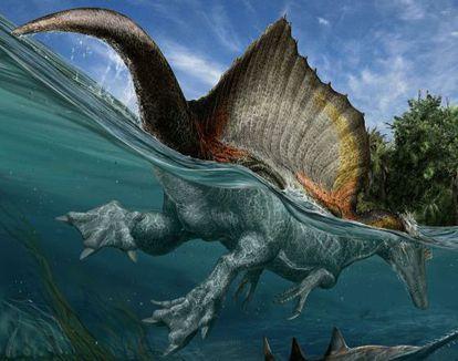 Ilustración del enorme espinosaurio, nadando y capturando grandes peces.
