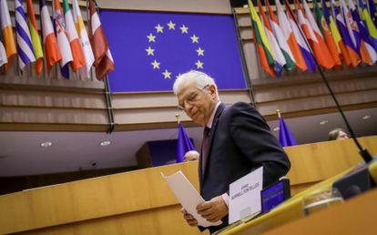 Tras su visita a Rusia, Josep Borrell en una sesión plenaria del Parlamento Europeo.