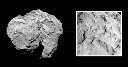 Localización del lugar elegido para el descenso de la sonda Philae, de la misión Roseta, en la superficie del cometa 67P/Churyumov–Gerasimenko.