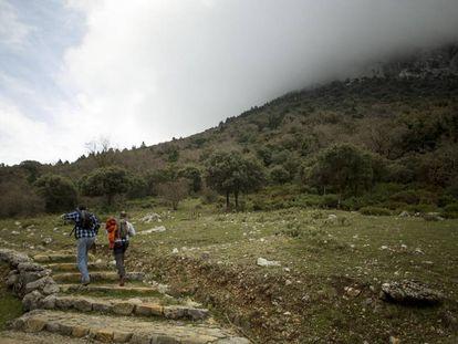 Dos senderistas por uno de los caminos autorizados del Parque Natural de la Sierra de Grazalema.