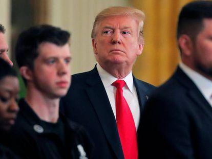 El presidente Donald Trump, este jueves durante un acto con veteranos en la Casa Blanca.