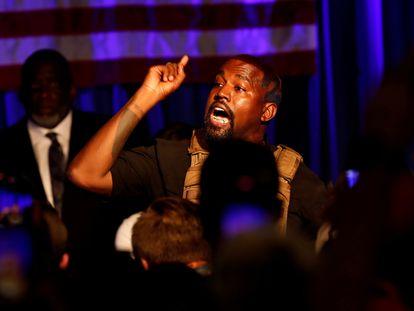 Kanye West en su primer acto electoral celebrado el 19 de julio en North Charleston, Carolina del Sur.