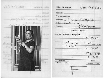 Aurora Rodríguez Carballeira. fotografiada dentro de la cárcel de mujeres de Ventas, en septiembre de 1933, donde cumplía condena por el asesinato de su hija, Hildegart Rodríguez.