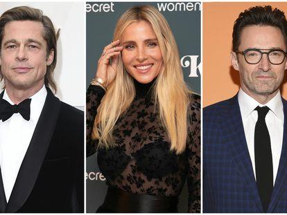 Los actores Brad Pitt, Elsa Pataky y Hugh Jackman.