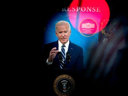 Joe Biden, presidente de EE UU, durante una conferencia de prensa en la Casa Blanca, en marzo de 2021.