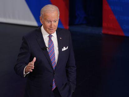 Joe Biden, durante una intervención en un acto organizado por la CNN este jueves, en Baltimore (Maryland).