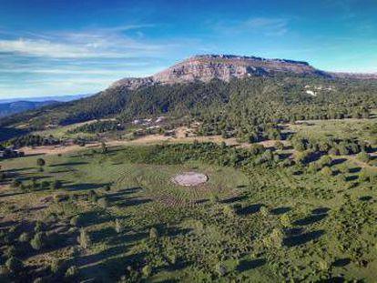 Vista aérea de Sad Hill (Silos, Burgos) en julio de 2016.