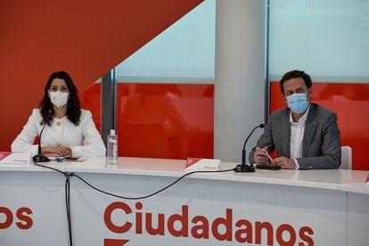 La presidenta de Ciudadanos, Inés Arrimadas, y el nuevo vicesecretario de la formación, Edmundo Bal.