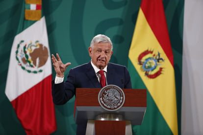 President López Obrador, this Wednesday at the National Palace in Mexico City.