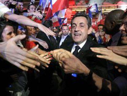 Nicolás Sarkozy durante un acto de campaña en la isla Reunión el pasado miércoles.