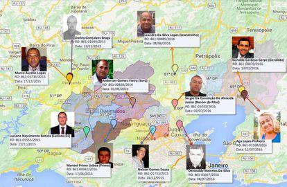 Mapa que ilustra los asesinatos políticos investigados.