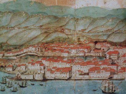 Plano del siglo XVIII de Santa Cruz de La Palma.