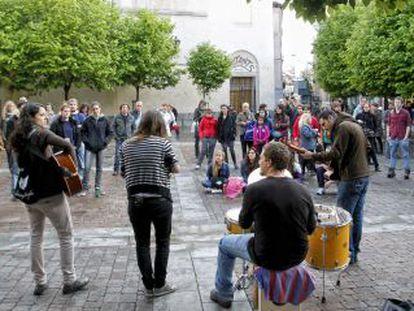 Microconcierto en la plaza de San Ildefonso.