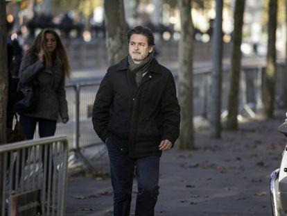 Oriol Pujol, a su llegada a la Audiencia de Barcelona.