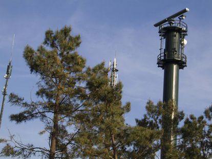 Torre de vigilancia del SIVE en la Illa de Arousa (Pontevedra).