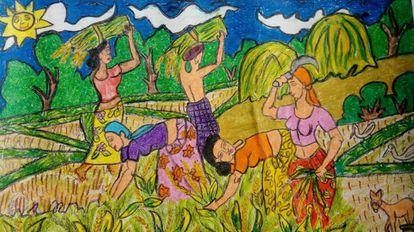 Mujeres cosechando en un campo de arroz en Sri Lanka, en una ilustración pintada por un niño para un concurso de arte organizado por la Federación Nacional de Mujeres de Vikalpani.