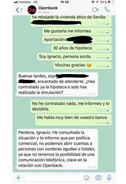 Captura de pantalla de la conversación entre Ignacio Benítez y el operador de Openbank.