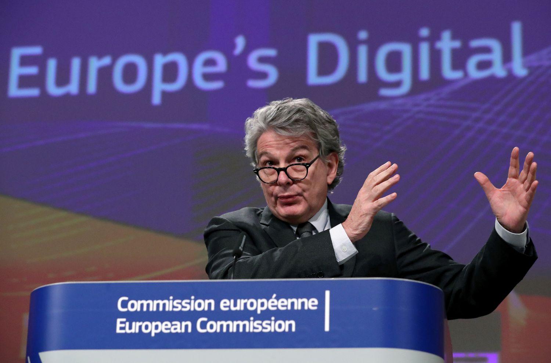 El comisario Thierry Breton durante una rueda de prensa el pasado mes de febrero en Bruselas.