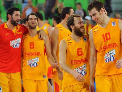 Jugadores de la selección española de baloncesto en el Eurobasket.