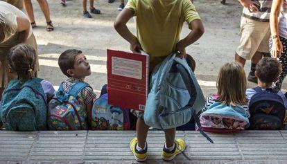 Alumnos de un colegio de Barcelona.