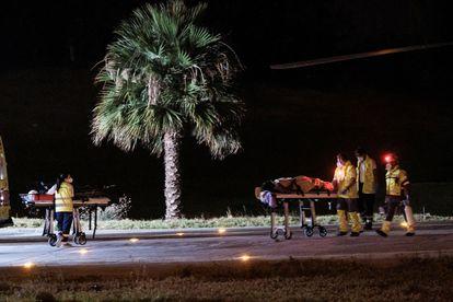 Llegada del helicóptero del servicio de búsqueda y rescate (SAR) del Ejército del Aire al helipuerto del Hospital Doctor Negrín de Las Palmas de Gran Canaria, con el cadáver de la niña de cinco años y dos supervivientes.
