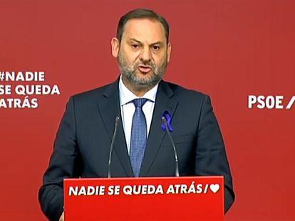 José Luis Ábalos, durante la rueda de prensa tras la reunión de la Comisión Permanente del PSOE, este lunes en la calle Ferraz de Madrid.