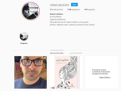 Perfil en redes de Rafael Cabaliere y portada de su libro, ganador del premio EspasaEsPoesía.