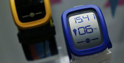 Uno de los modelos electrónicos de Swatch, el pasado marzo.