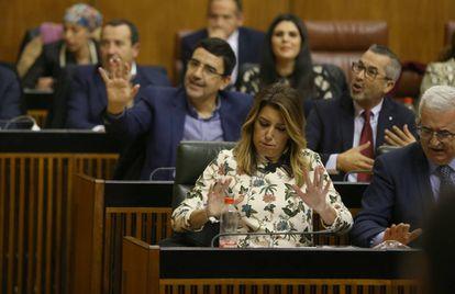 Susana Díaz, el pasado miércoles, en la sesión de investidura de Juan Manuel Moreno en el Parlamento andaluz.