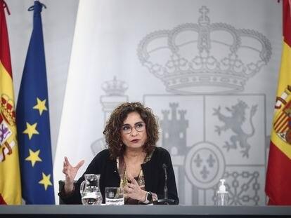 María Jesús Montero, portavoz del Gobierno y ministra de Hacienda, este martes en la rueda de prensa posterior al Consejo de Ministros.