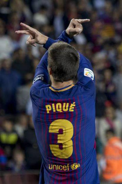Piqué celebra el gol que marcó al Espaynol.