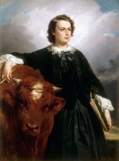 """Retrato de Rosa Bonheur, Édouard Louis Dubufe (1819-1883). La artista tuvo que pedir a las autoridades un """"permiso de travestismo"""" para poder llevar pantalones a los establos.  """
