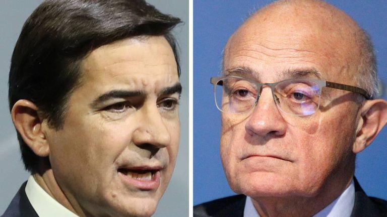 Carlos Torres, presidente de BBVA, y Josep Oliu, presidente de Sabadell.