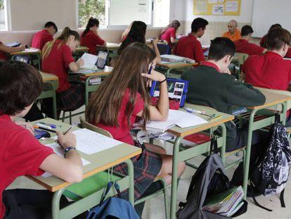 Un aula de un colegio valenciano concertado.