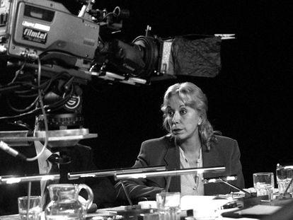 Actriz catalana Rosa Maria Sardà, en rodaje de la película 'Humanots', en 1999.