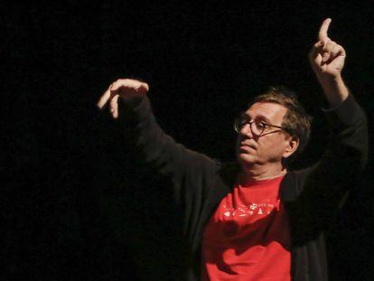 El músico John Zorn, durante el concierto en San Sebastián.