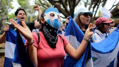 Una marcha contra Daniel Ortega, el pasado julio.