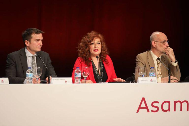 Pilar Jurado, durante la última asamblea de la SGAE, el pasado 30 de enero.