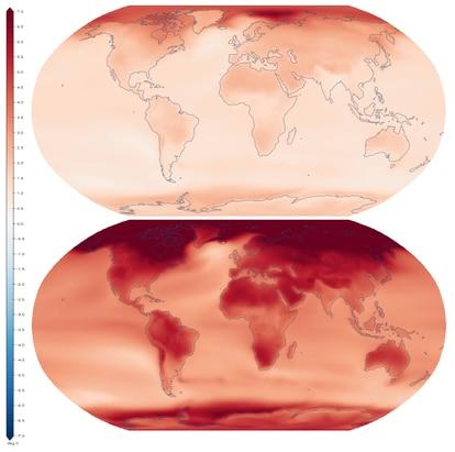 Proyección sobre el aumento de las temperaturas medias en el planeta con un calentamiento global de 1,5 grados (arriba) y un calentamiento de 4 grados (abajo).