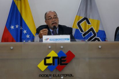 The president of the Electoral Power of Venezuela, Pedro Calzadilla, during a press conference this Thursday, in Caracas.