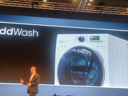 Presentación de la lavadora Samsung AddWash en Mónaco.