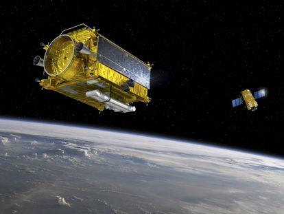 Recreación de un sistema de retirada de basura espacial.