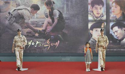 Promoción de la serie 'Descendientes del sol' en Seúl.